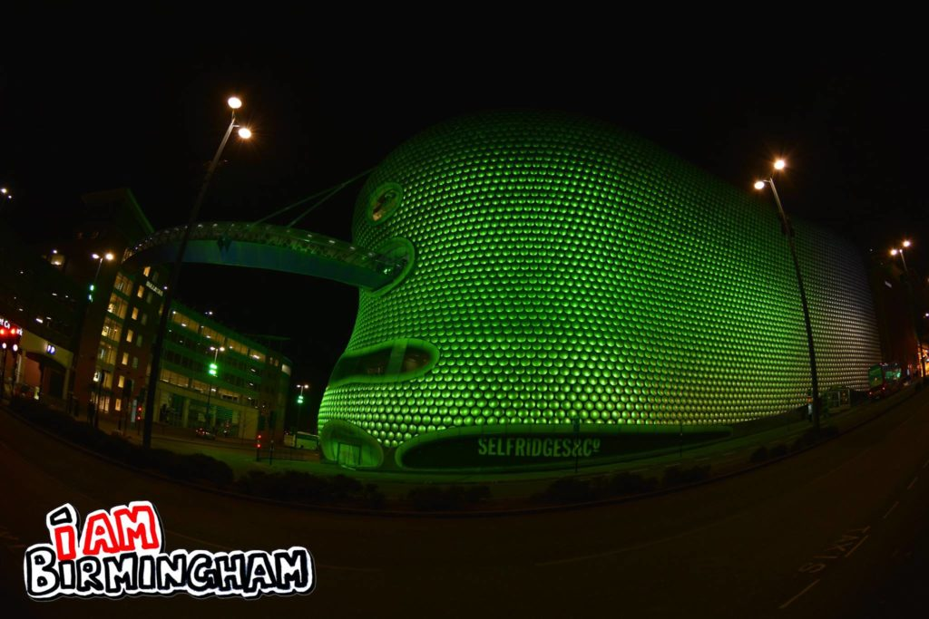 The landmark Selfridges building in Birmingham is lit up bright green this week in honour of St Patrick's Day (Photograph: Rangzeb Hussain)