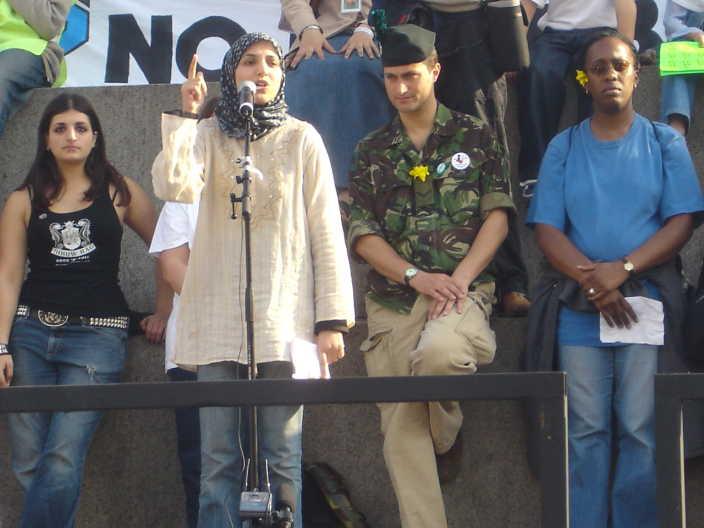 Salma Yaqoob speaking at an anti-war rally in Trafalgar Square in London
