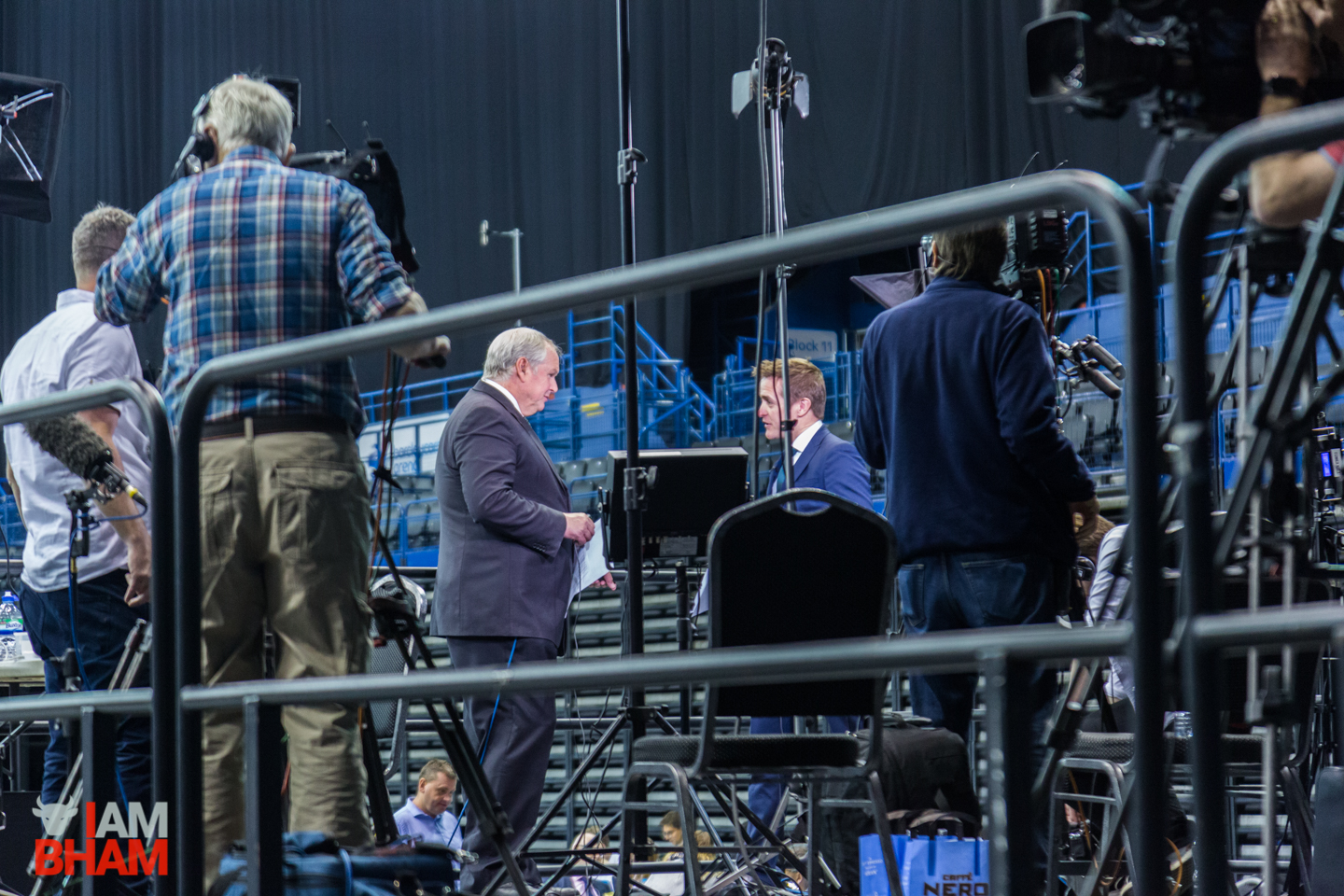 Sky News' Adam Boulton chats to ITV News correspondent Dan Rivers during the West Midlands Mayoral Election count in Birmingham