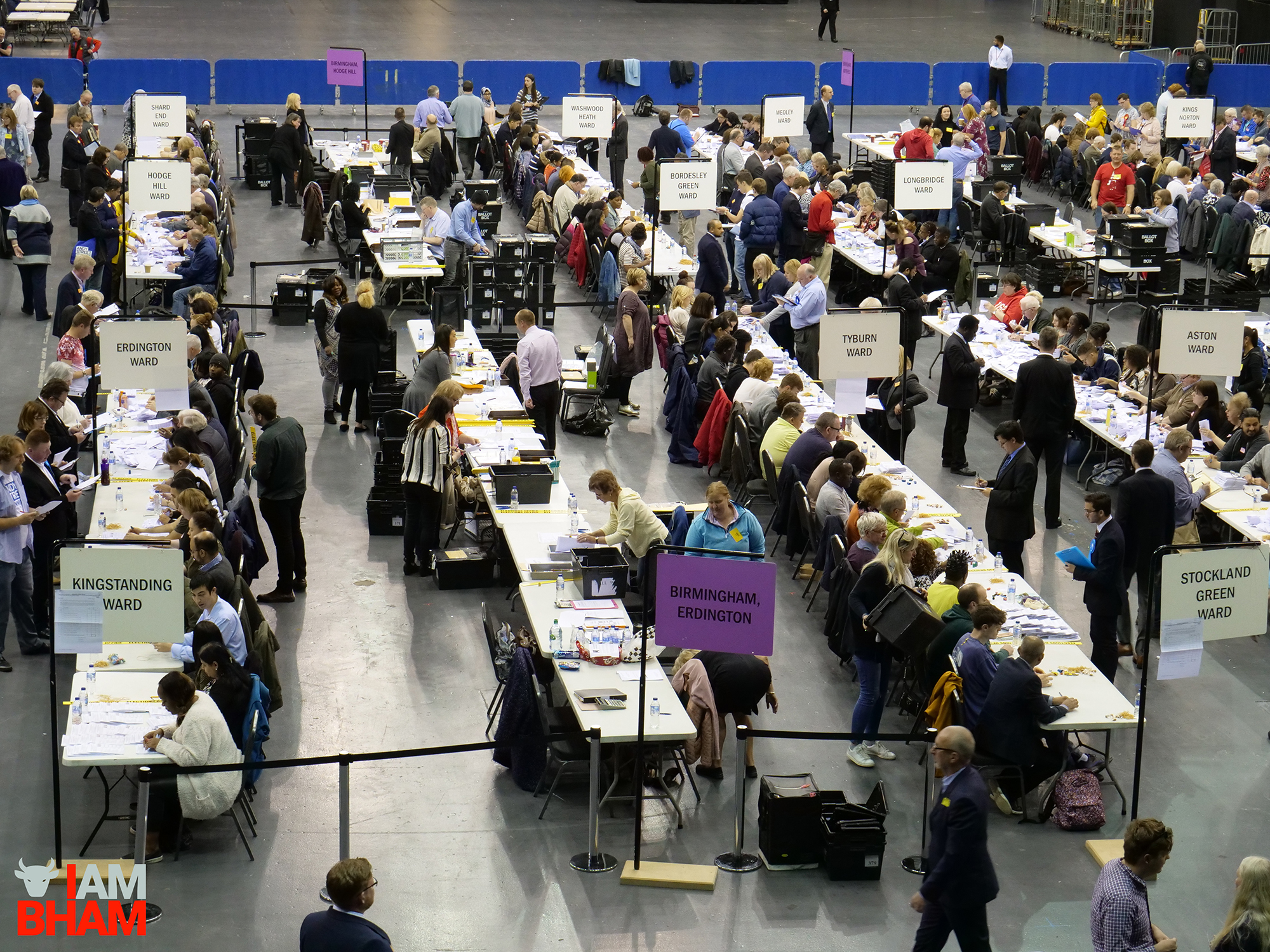 The West Midlands Mayoral Election vote count gets underway at the Barclaycard Arena in Birmingham