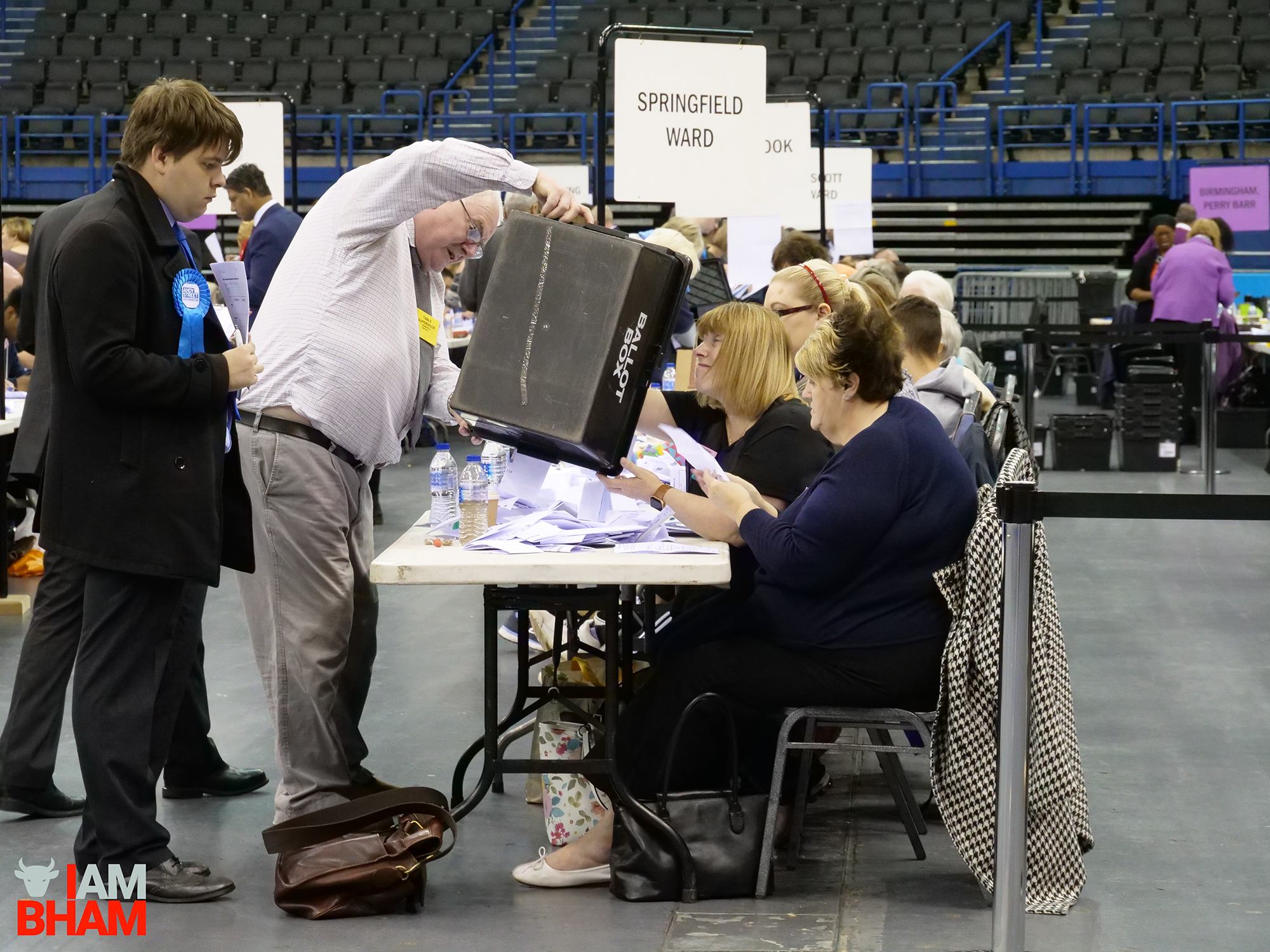 A ballot box is brought into the Birmingham Barclaycard Arena during the West Midlands Mayoral Election vote count