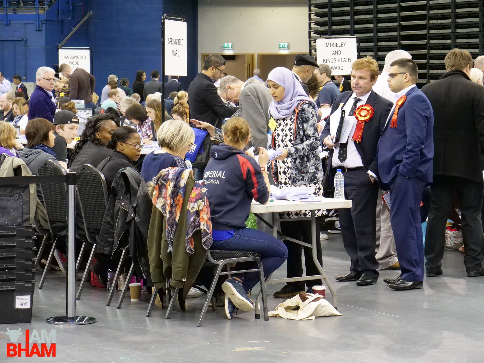 Labour councillors oversee and observe the West Midlands Mayoral Election vote count at the Birmingham Barclaycard Arena