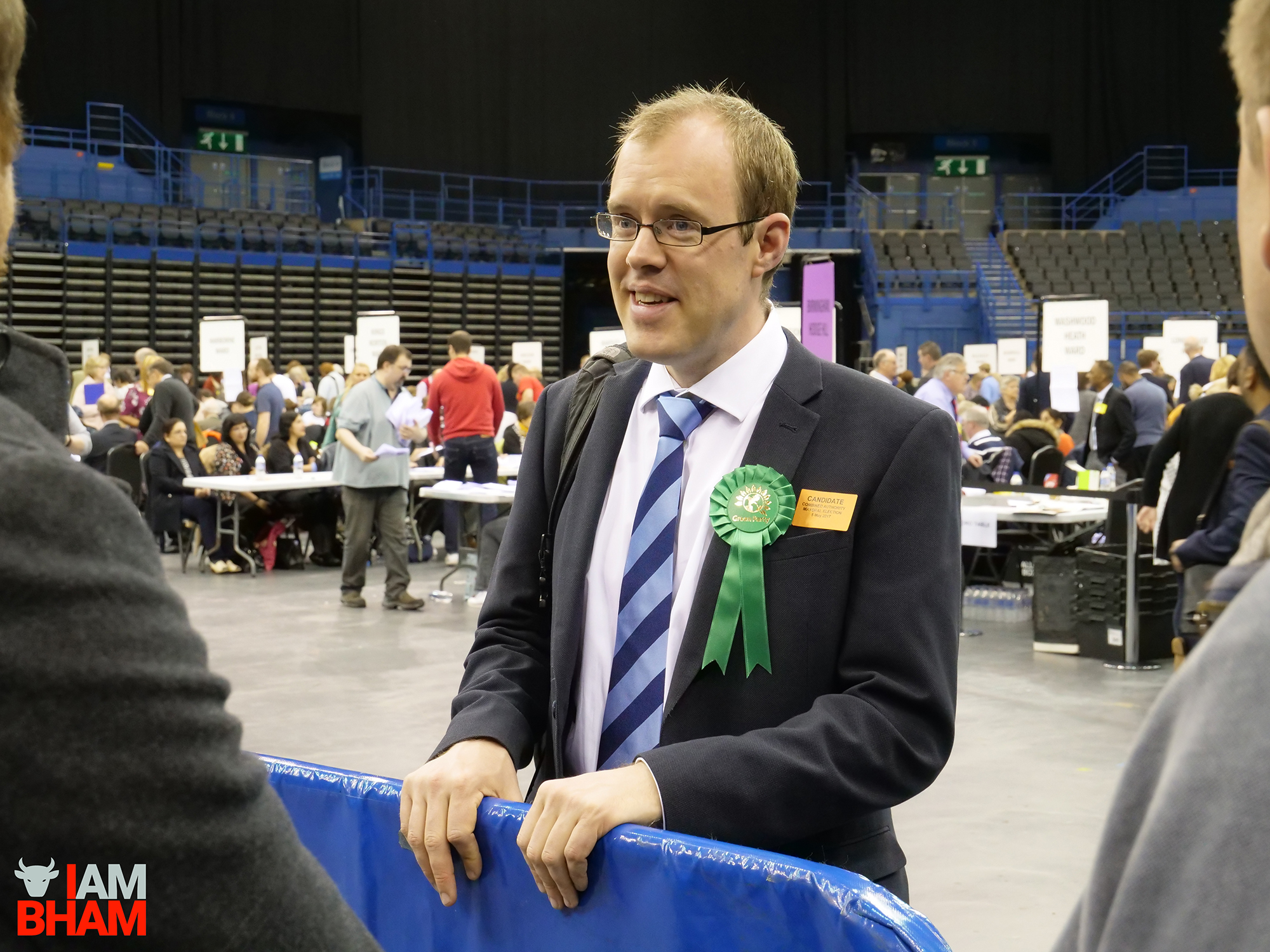Green Party candidate James Burns seems to be in good spirits at the West Midlands Mayoral Election vote count at the Birmingham Barclaycard Arena