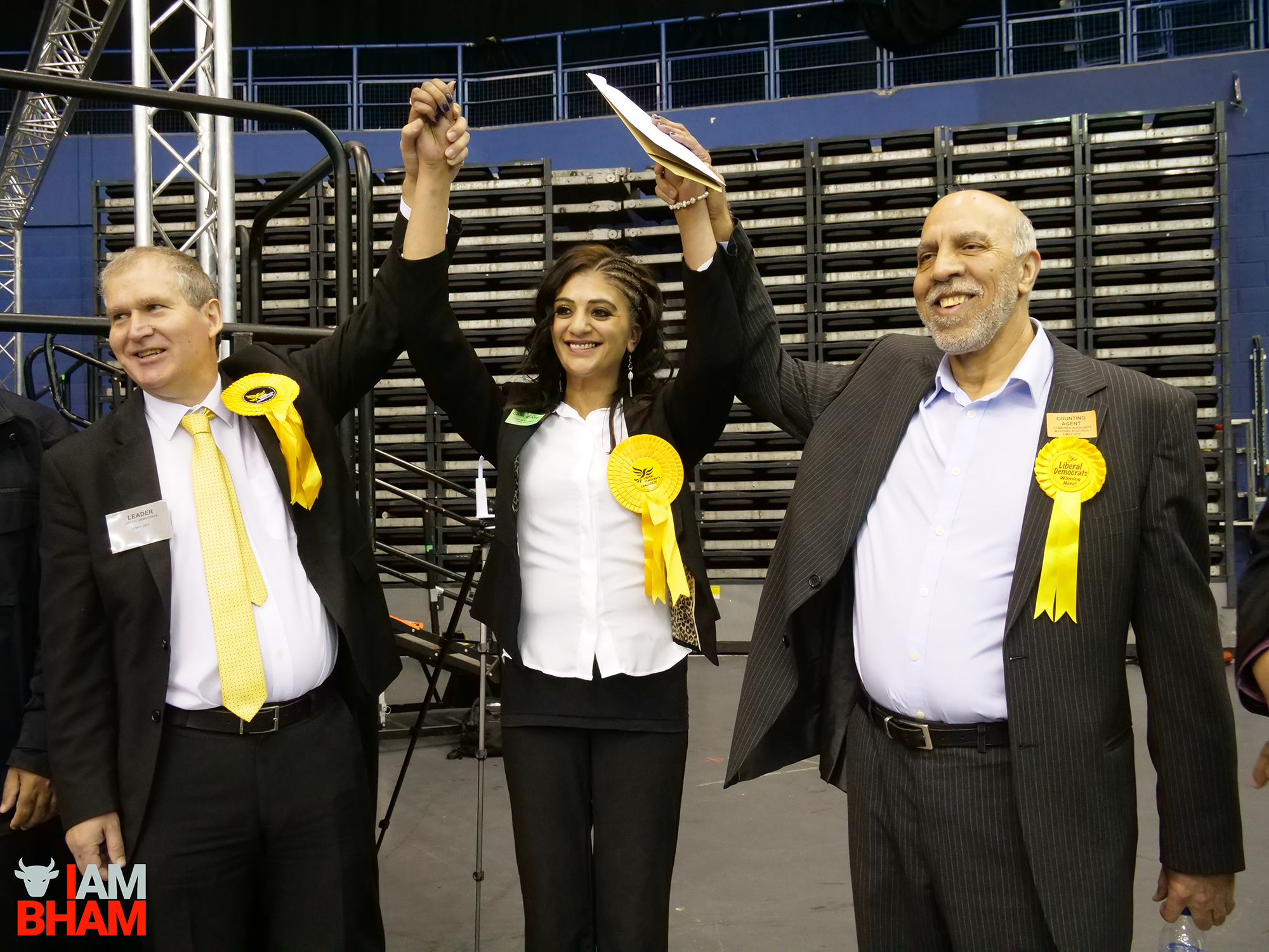 New Perry Barr councillor Mooriam Jan celebrates her win with fellow Lib Dem councillors