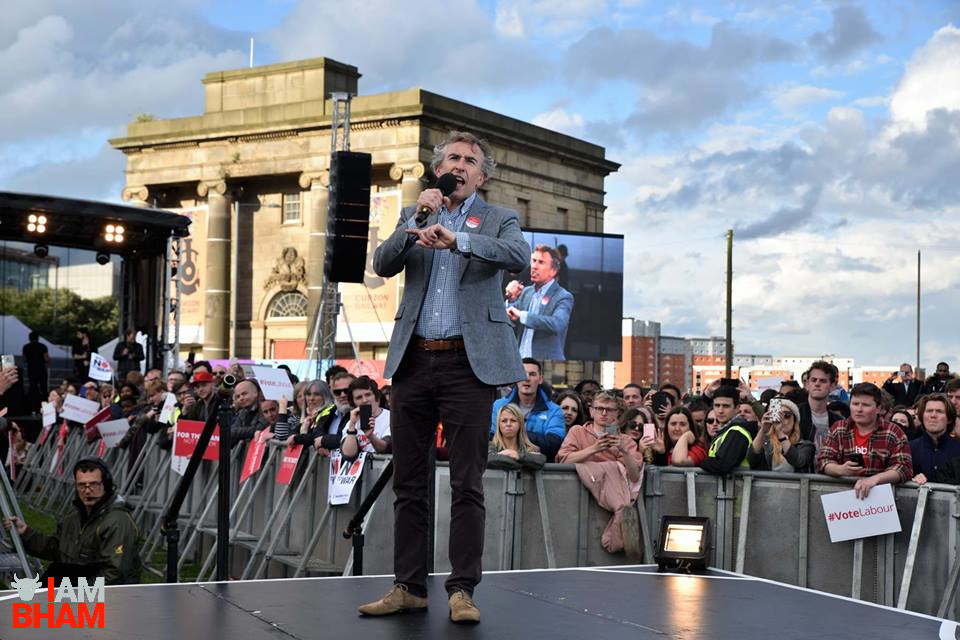 Comedian and actor Steve Coogan endorsed Jeremy Corbyn as he compered the outdoor election rally, while condemning Theresa May and the Conservatives