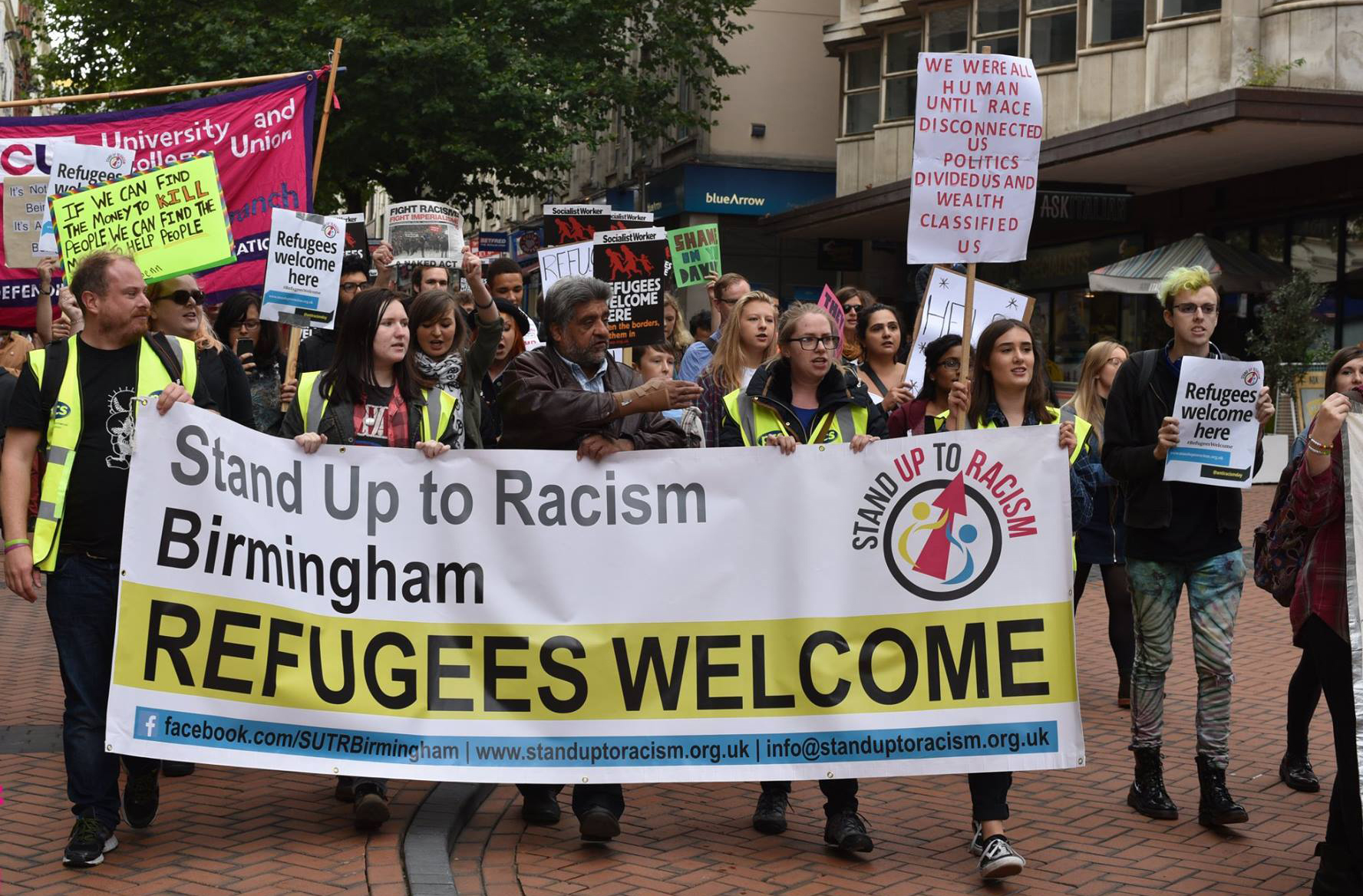 A 'Refugees Welcome' march in Birmingham calling for sanctuary to be given to refugees
