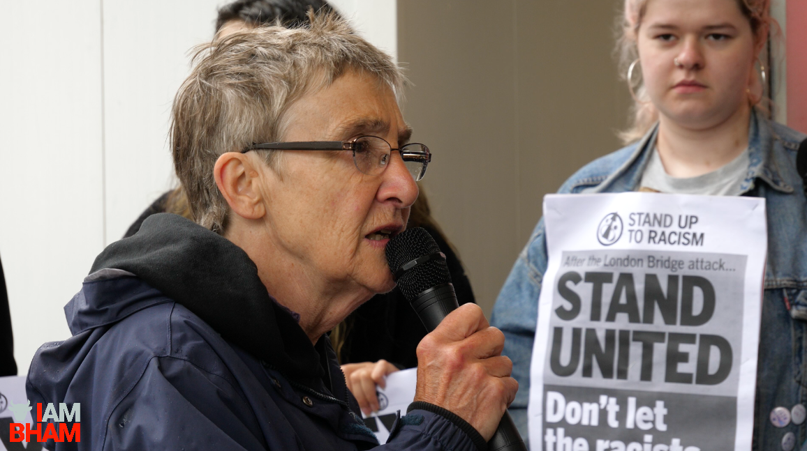 Bridget Parsons from Stand Up To Racism led the speeches at the peace vigil in Birmingham