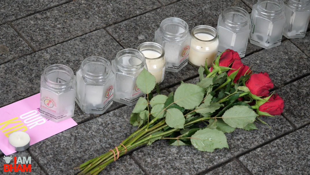 Flowers were laid at the vigil in Birmingham to pay tribute to victims of the recent London attack