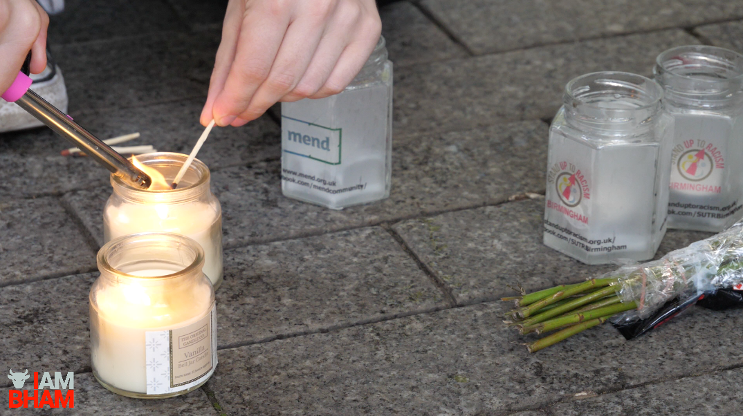 Candles were lit at the Birmingham vigil for the victims of the London Bridge terror attack