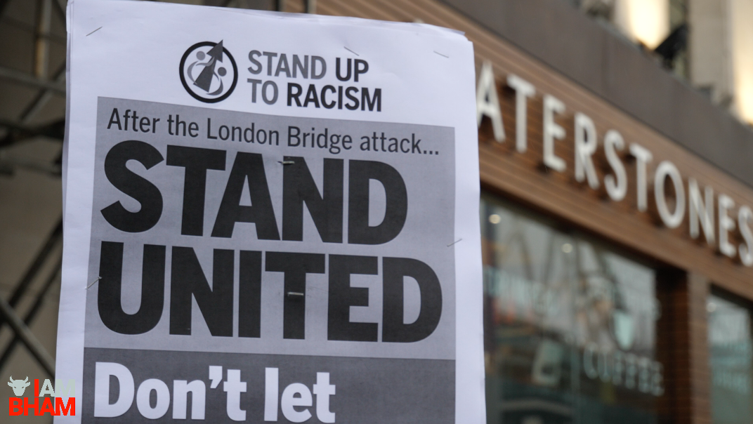 'Stand United' placards at the Birmingham vigil for the London Bridge terror attack victims