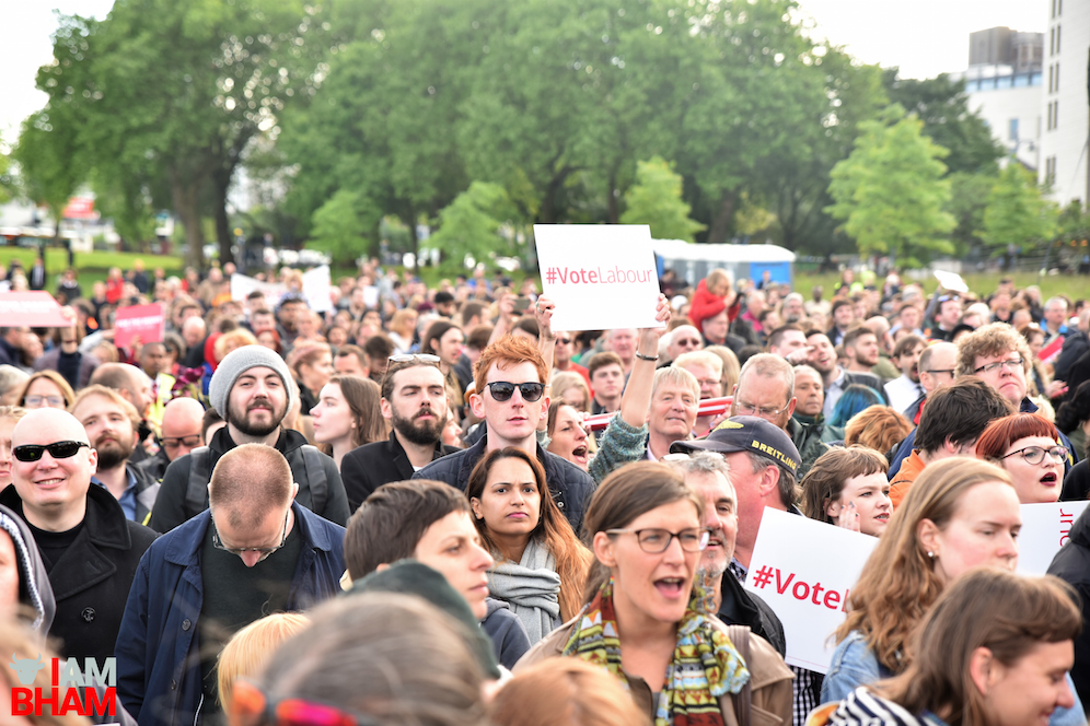Thousands of people gathered at Eastside City Park in Birmingham to hear Jeremy Corbyn speak