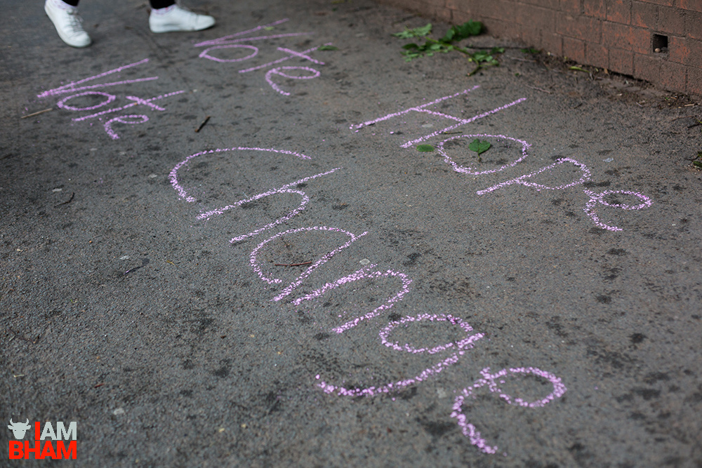 Messages calling for hope and change have been scrawled on city streets in Birmingham ahead of polling day on June 8th