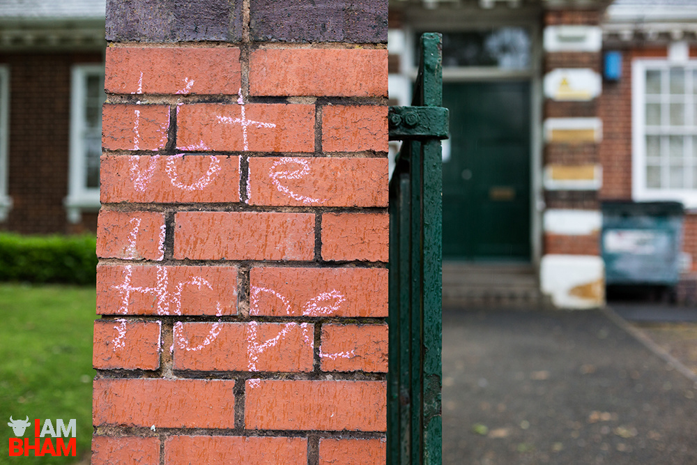 A 'Vote Hope' message left on a brick wall in Birmingham ahead of the General Election