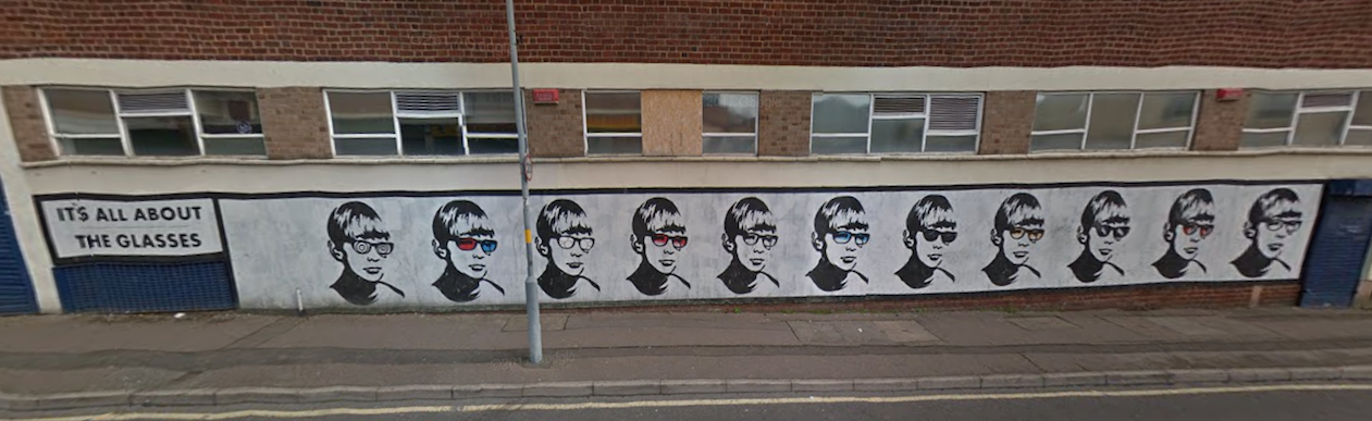 The 'Golden Boy' street art consisted of several stencil versions of Jeffrey Dahmer's face, painted along Lower Essex Street