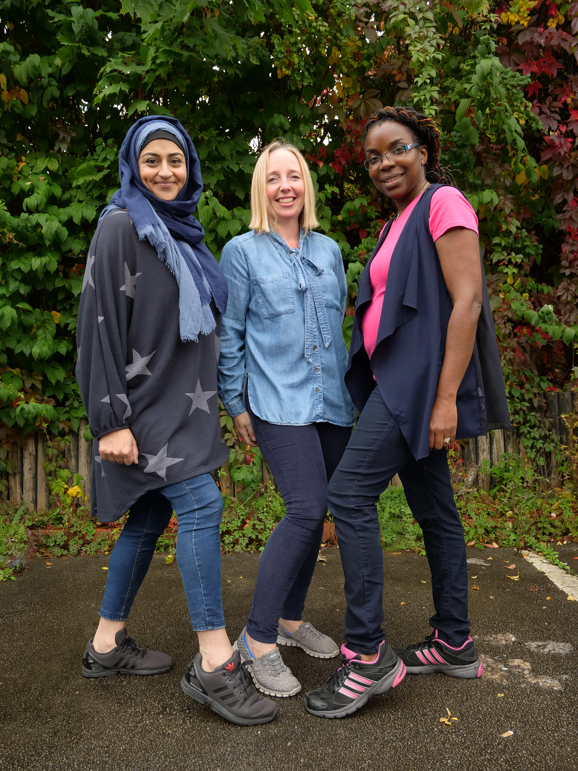Community friends (L-R) Saphia Khan, Alison Beacham and Claudette Dawson are ready for the Walk Together unity event in Birmingham