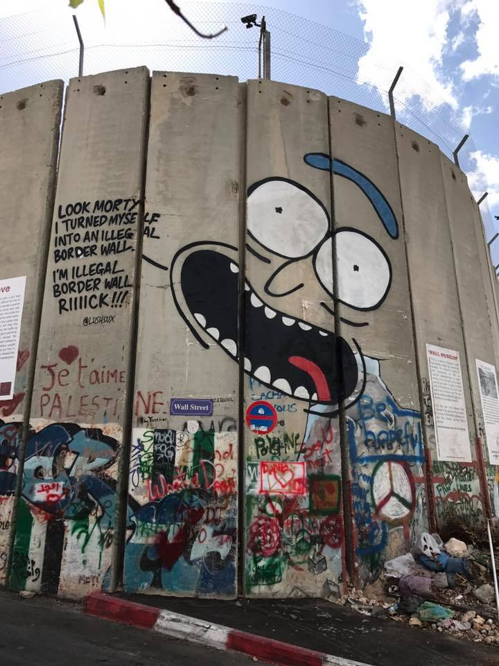 Another huge mural of Rick Sanchez, from popular animated series Rick and Morty, finds its way onto the Israeli 'apartheid wall'