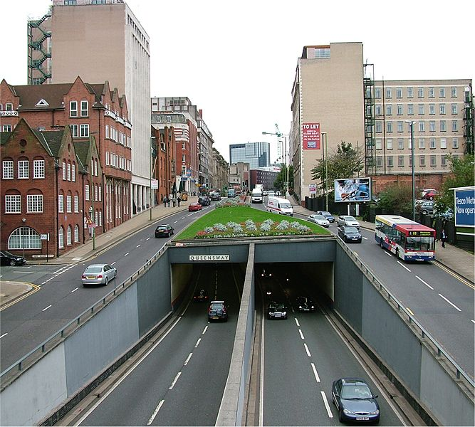 Traffic at Queensway in Birmingham, looking southwest from Great Charles Street back in 2005