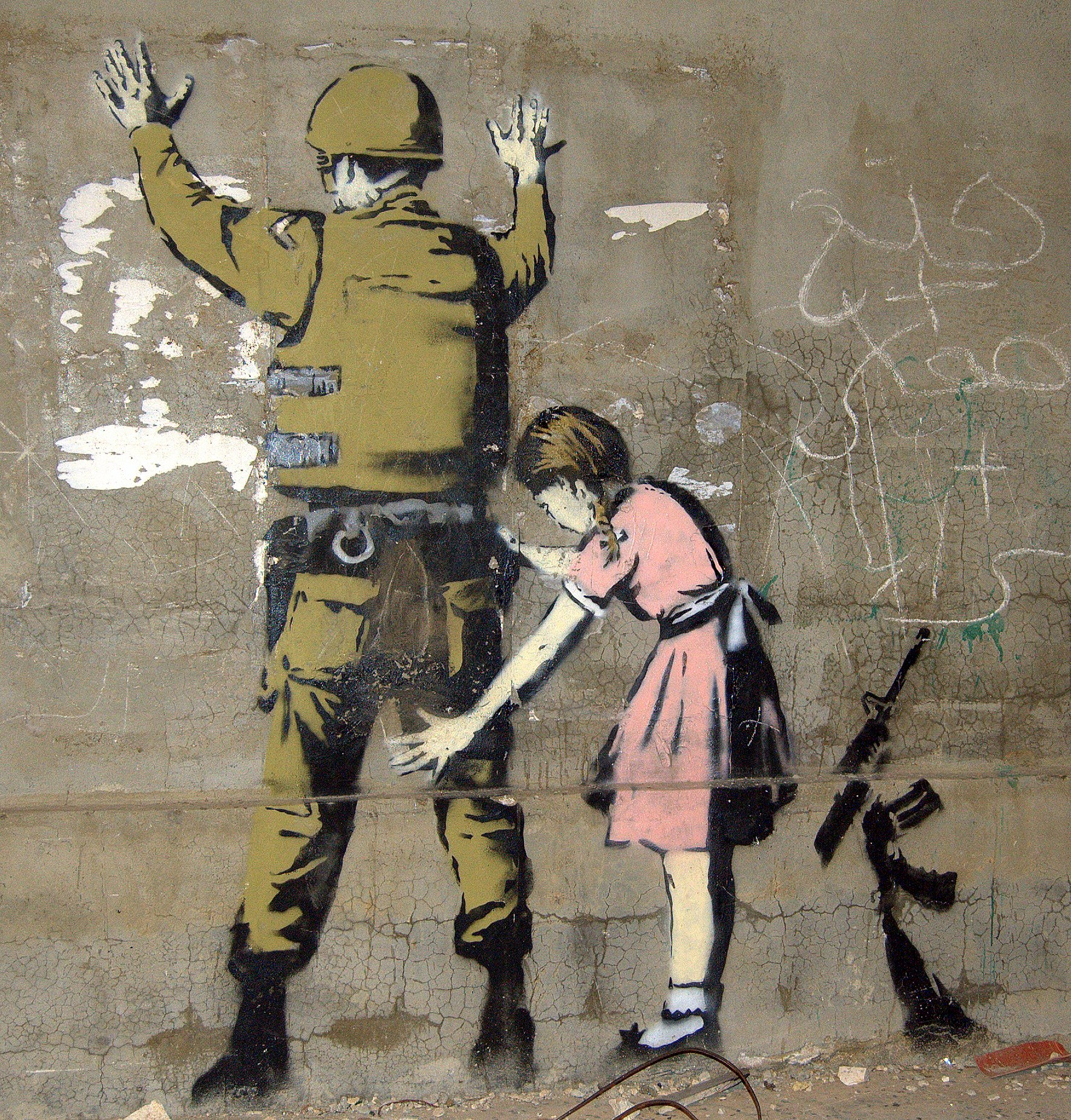 Many commentators have drawn comparisons between Lushsux's work and that of social activism artist Banksy, who has also famously painted stencil-based artwork on the Israeli-Palestine wall