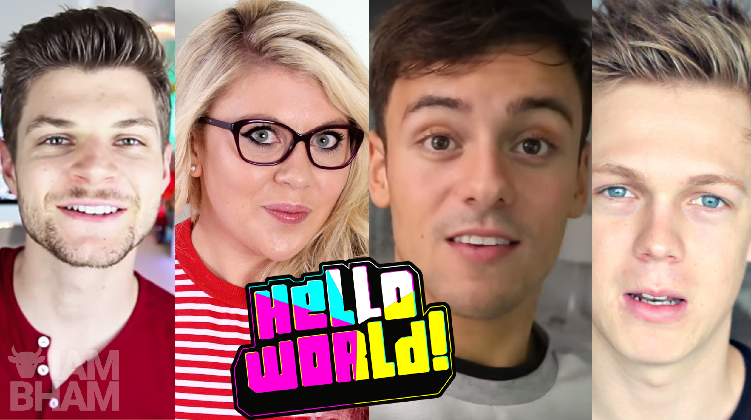 HelloWorld brings together the biggest digital stars on the planet in a 4-hour immersive live event, including (L-R) Jim Chapman, Louise Pentland, Tom Daley and Caspar Lee