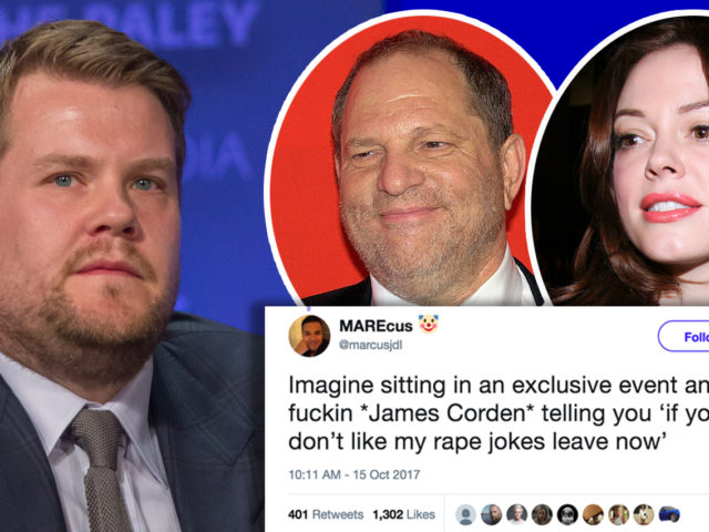 James Corden has been condemned for making rape jokes at a charity event in LA