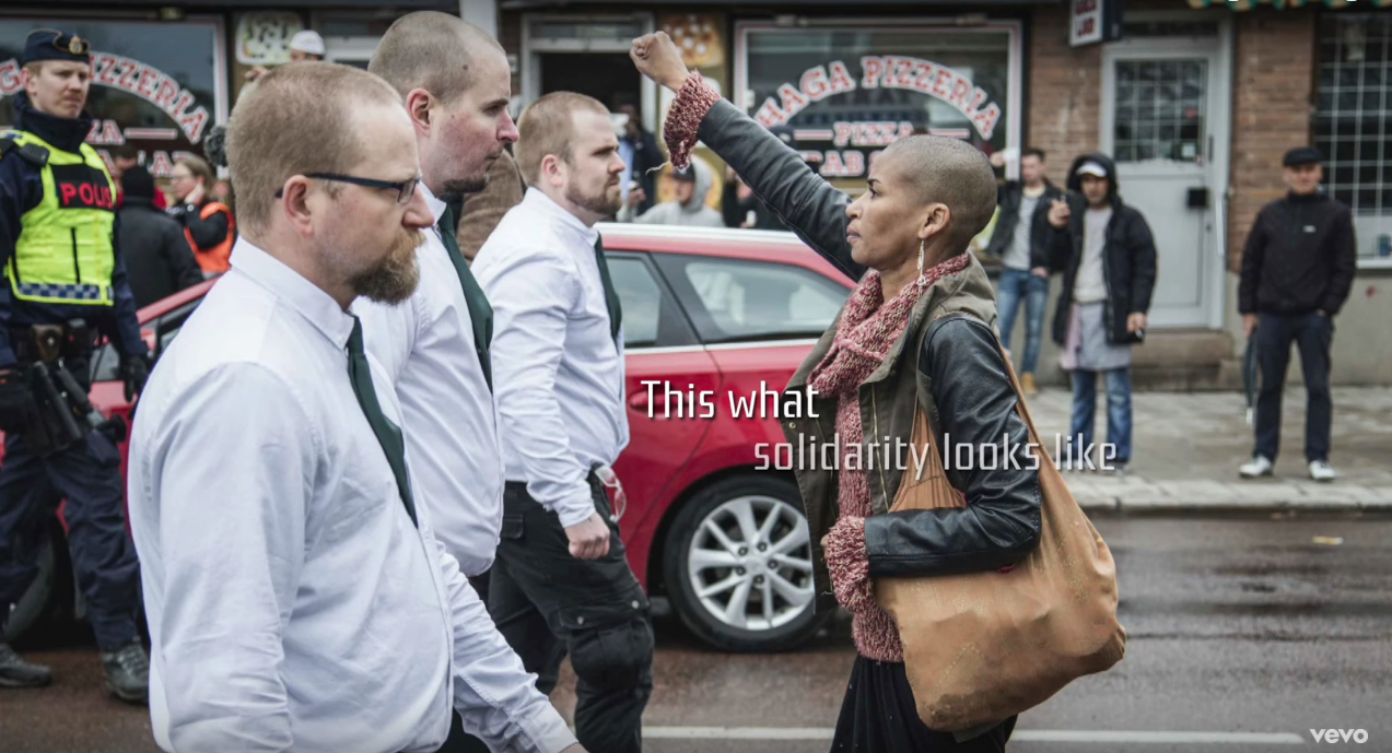 Tess Asplund standing up to Neo Nazis in Sweden