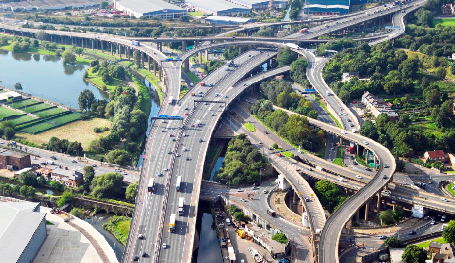 Traffic on Gravelly Hill Interchange, commonly known as Spaghetti Junction, in Birmingham