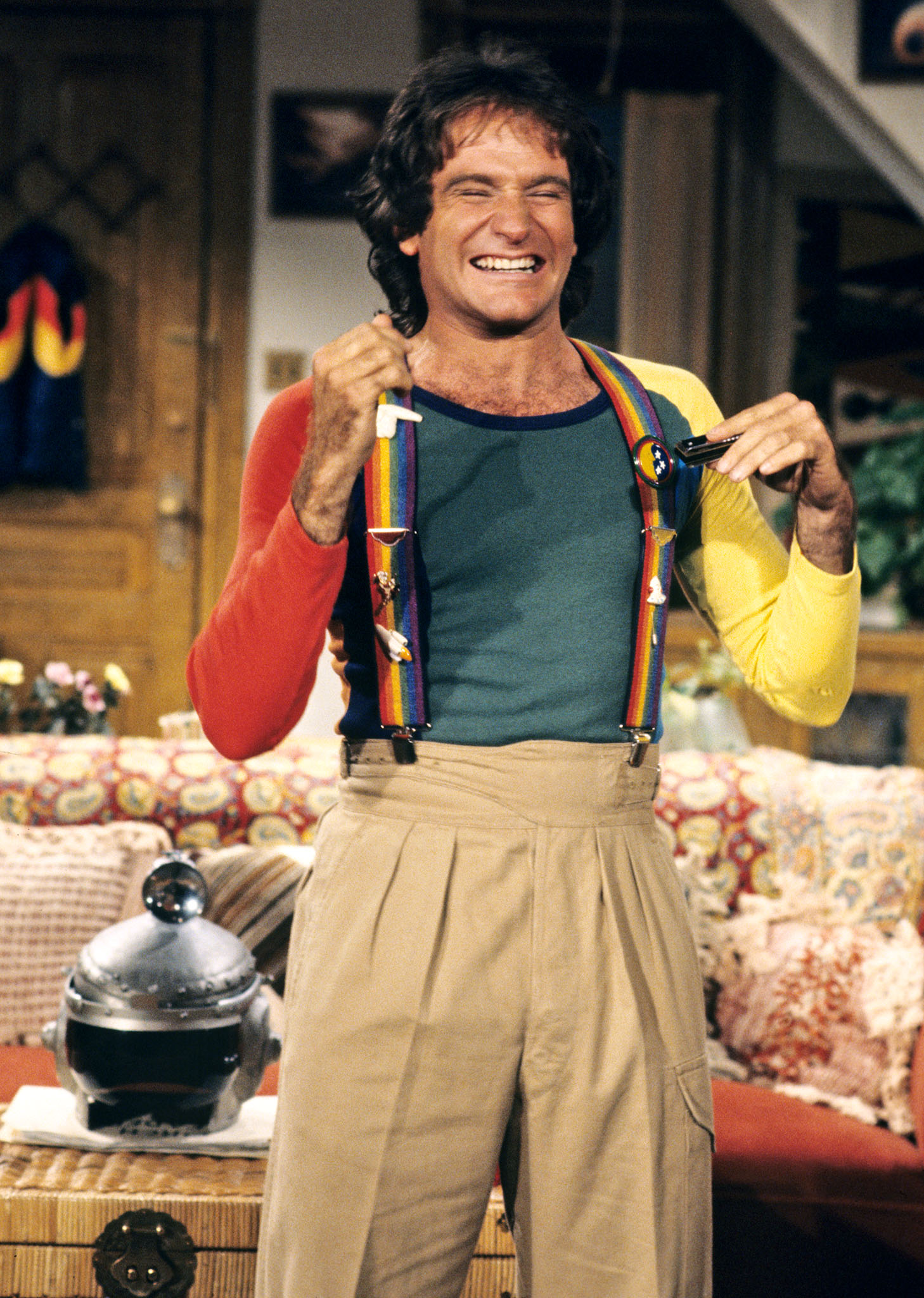 Robin Williams as Mork in classic hit sci-fi comedy Mork & Mindy