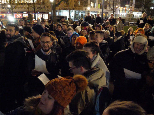 Hundreds of people came together outside Birmingham Cathedral to sing Toto