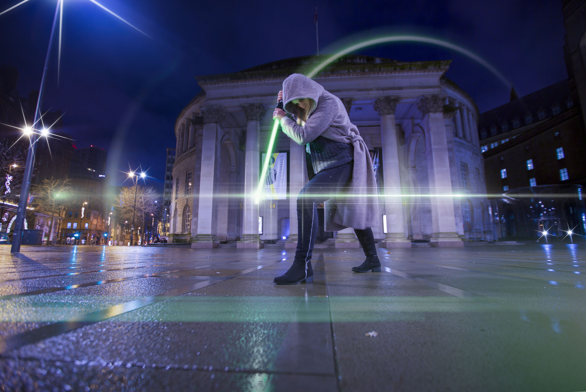 Disney commissioned Star Wars fan and photographer Matt Scutt to create a series of stunning light trail pictures using the famous Jedi weapon, including this image in Manchester