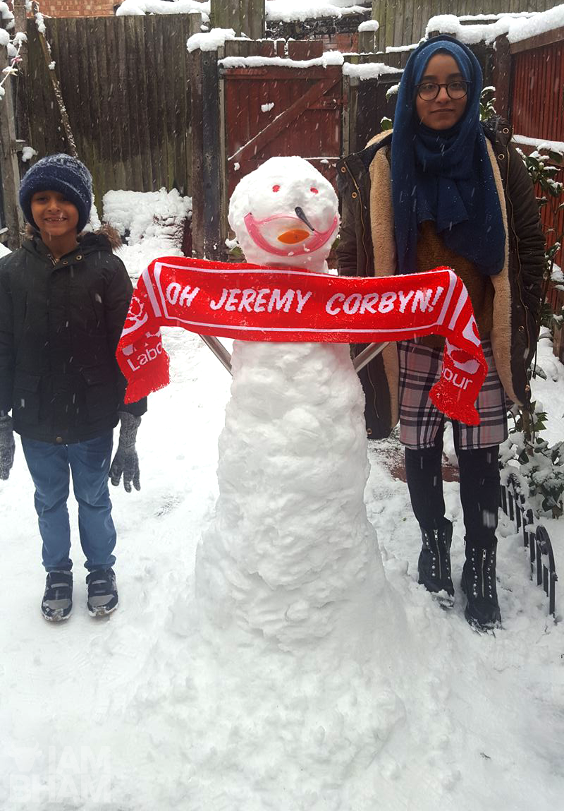 A Birmingham family built a Jeremy Corbyn snowman in tribute to the current Leader of the Labour Party