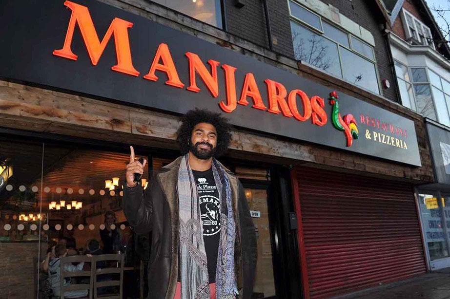 Boxer David Hayes outside Manjaros Restaurant on a previous visit