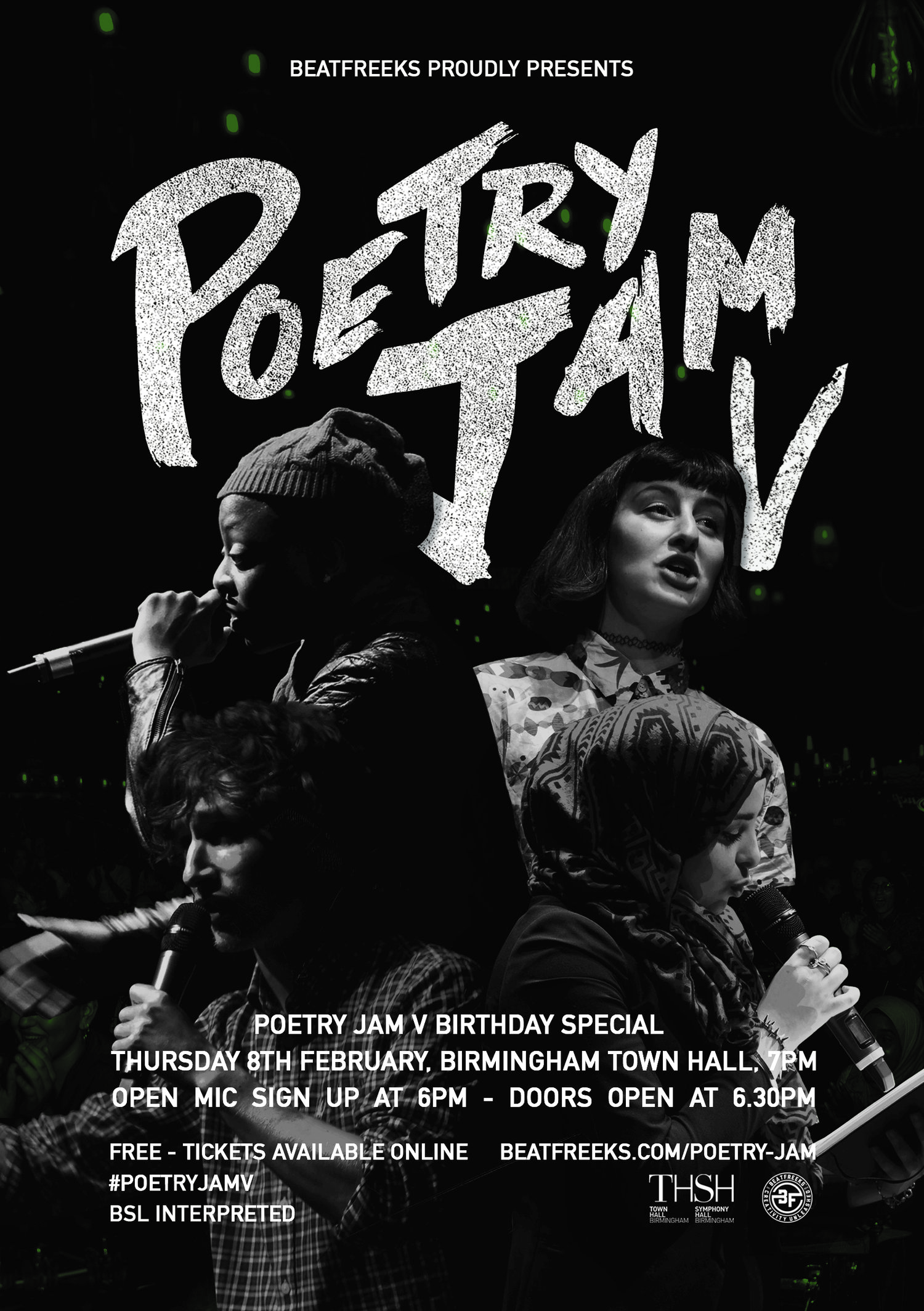 Beatfreeks celebrates five years of 'Poetry Jam' with a special public birthday celebration at the Birmingham Town Hall