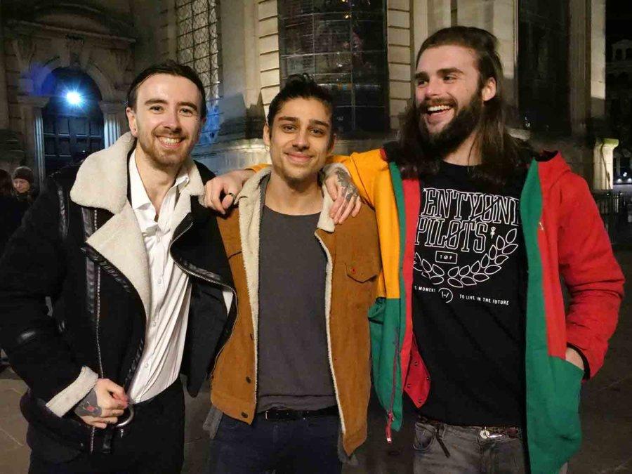 Flashmob singalong co-organisers (L-R) Samuel Catlow, Curtis Gott and Jon Mahon