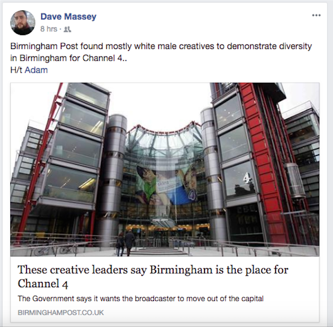 Social media anger at Birmingham Post article highlighting diversity for Channel 4 HQ move to city, but including only white men