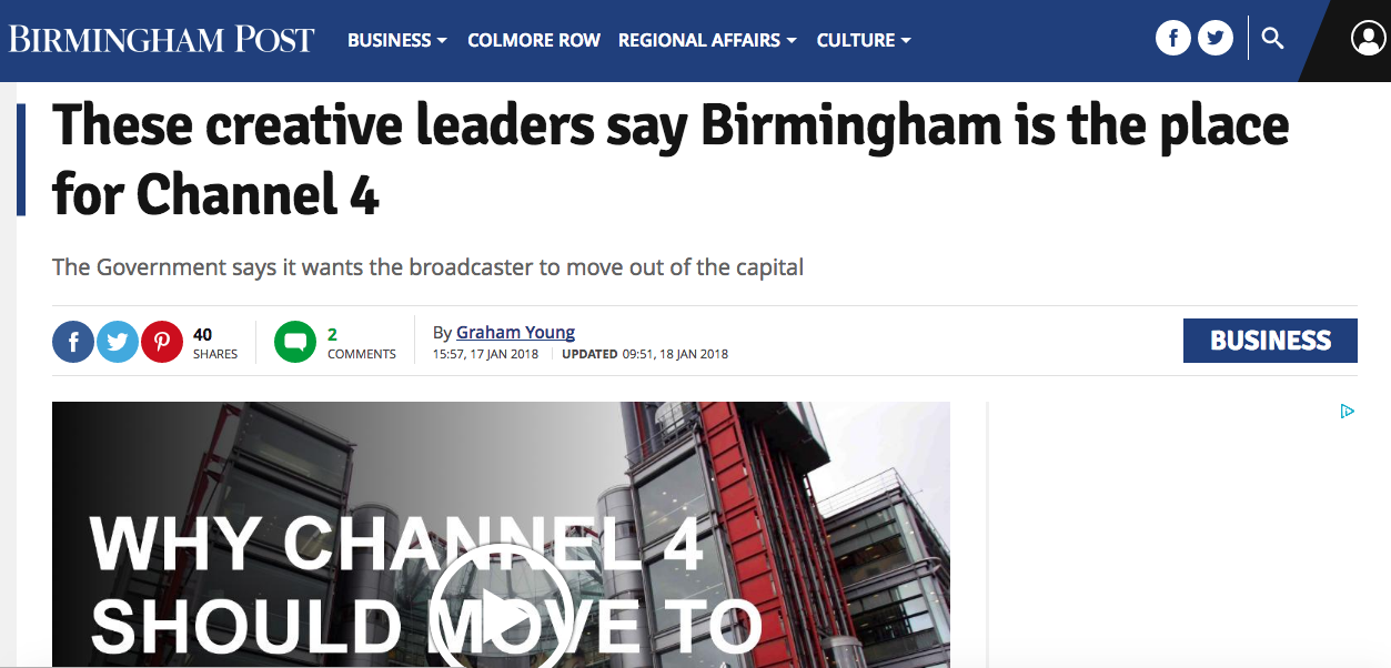 Readers have expressed disappointment at a Birmingham Post article highlighting the city's media diversity which included only white men