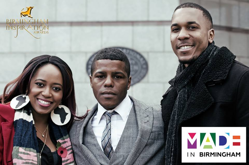 Taffy Mushipe and Arron Wiggins from Made in Birmingham TV, with artist Prince Bayo