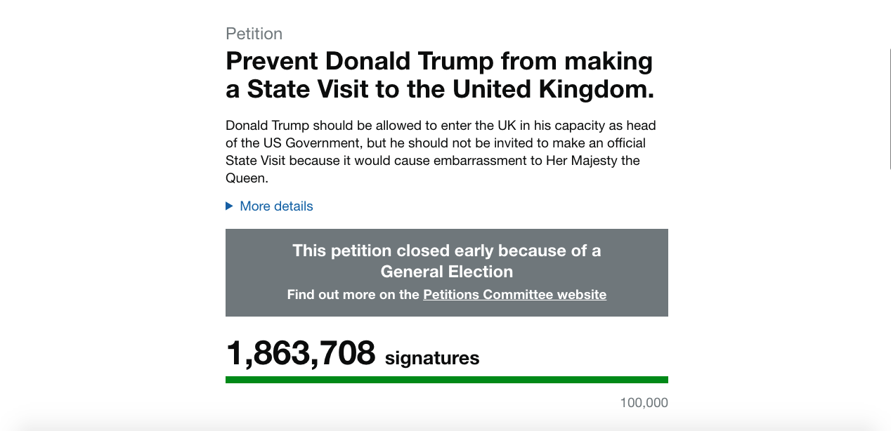 An official Government petition preventing Donald Trump from making a state visit to the UK amassed nearly 2 million signatures