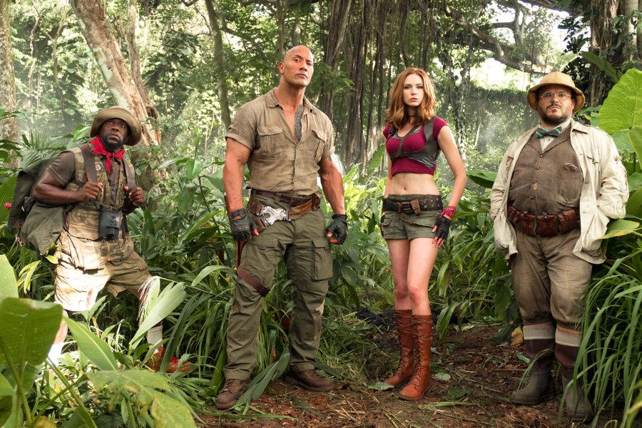 Kevin Hart (left) with Dwayne Johnson, Karen Gillan and Jack Black in Jumanji: Welcome to the Jungle