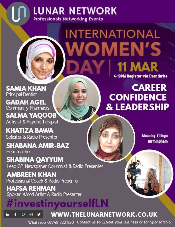 An array of professional Muslim women will be marking International Women's Day at a special Lunar Network event in Birmingham