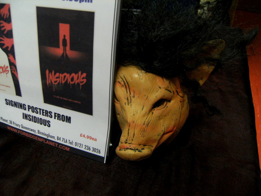 SAW memoribilia on display at the Forbidden Planet store in Birmingham during a visit by James Wan and Leigh Whannell