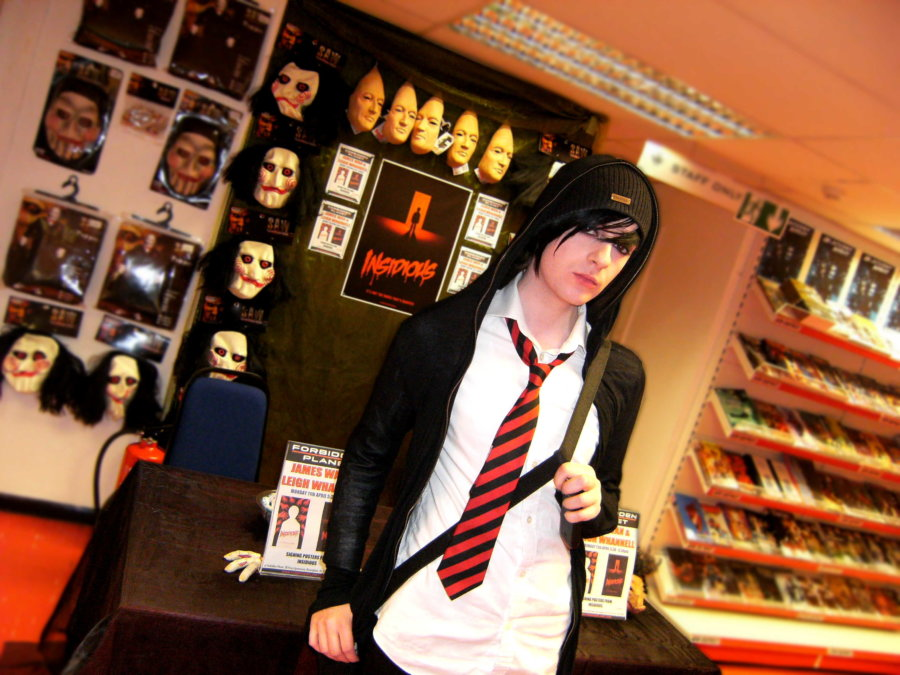 Horror fan and artist Discord C. Bam Bam - also known as Discord Adonis - at the Forbidden Planet store in Birmingham ahead of a visit by James Wan and Leigh Whannell