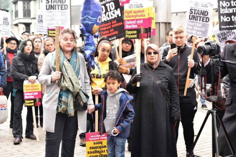 Birmingham Stand Up To Racism counter protest against FLA march and demonstration in March 2018
