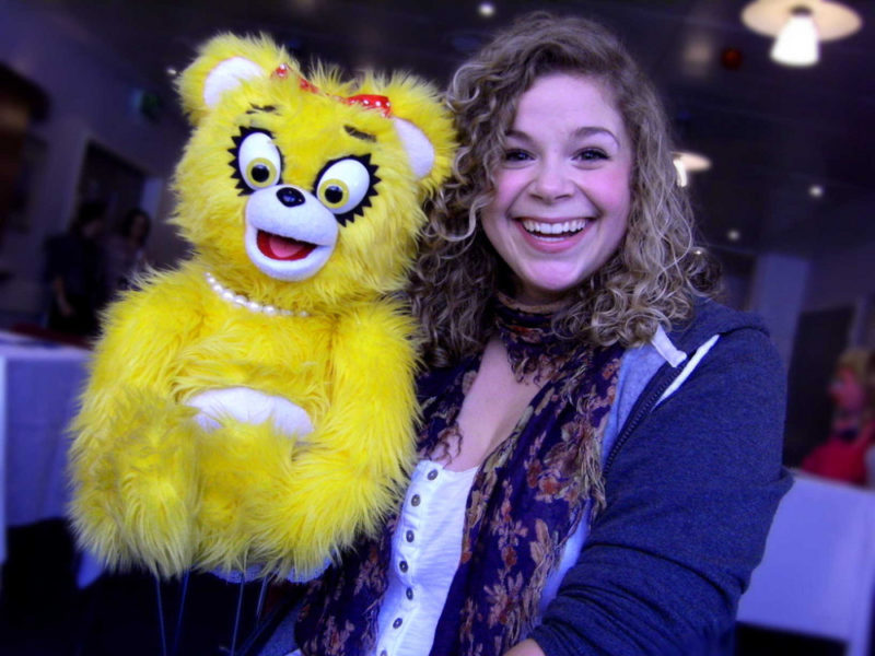 Avenue Q cast member Katharine Moraz and Bad Idea Bear in Birmingham back in 2011