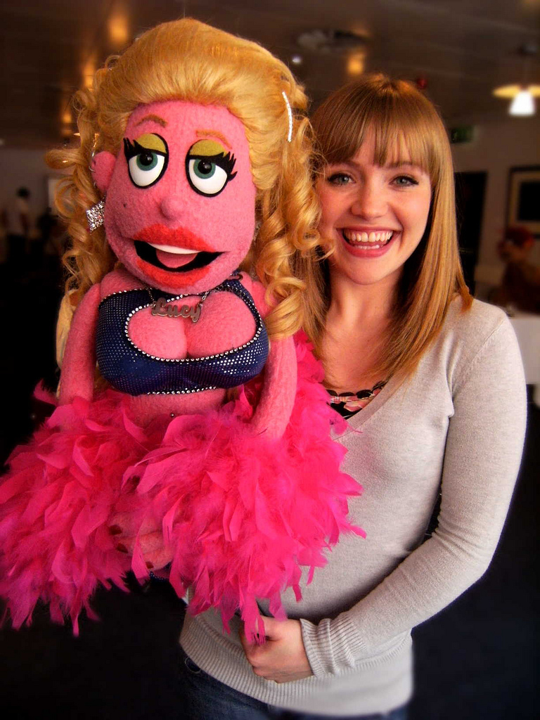 Avenue Q cast member Rachel Jerram with character puppet Lucy the Slut