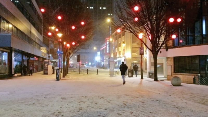 It is snowing across Birmingham this evening