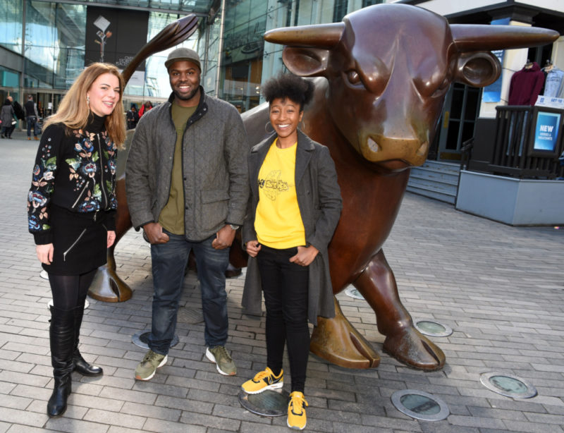 Young talent (L-R): Rosie Kay, Daniel Alexander and Lady Sanity pose outside the Bullring in Birmingham