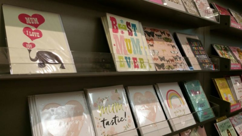 "Mother's Day cards on sale in Birmingham, bearing the ""Mum"" spelling instead of ""Mom"""