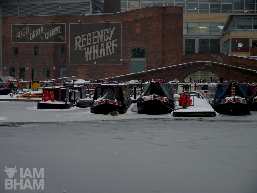 Frozen canals in Birmingham's Brindley Place