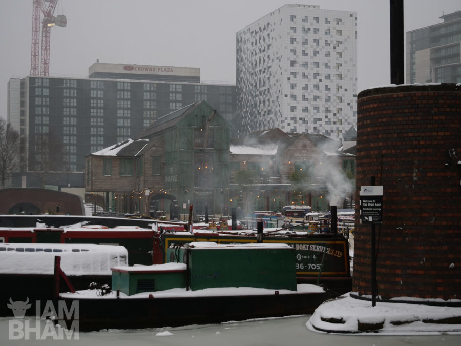Frozen canals at Gas Street Basin in Birmingham