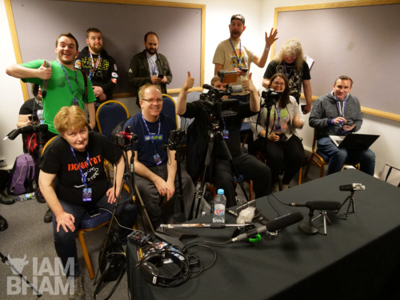 Members of the press waiting for actors Michael Rooker and Sean Gunn in the MCM Comic Con Birmingham press room